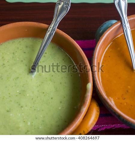 Spicy salsa and salsa verde  - stock photo