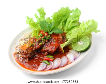 Spicy Sardines in tomato sauce canned fish ,Yum thai food style - stock photo
