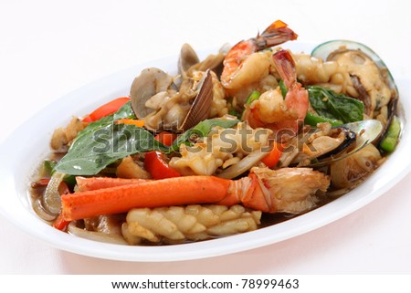 Spicy Seafood Basil - stock photo