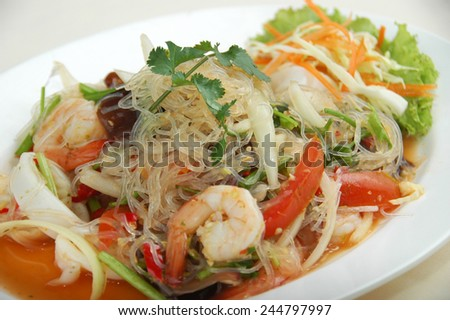 spicy seafood salad - stock photo