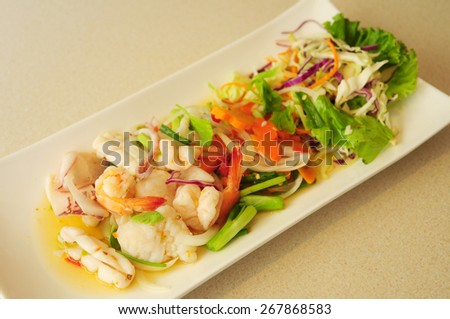 spicy seafood salad in Thai style - stock photo