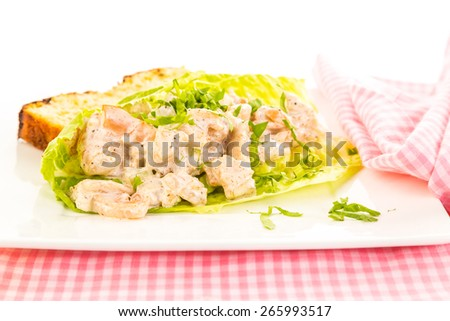Spicy seasoning on shrimp salad in lettuce leaf wrap with slice of jalapeno cheese loaf on bright white background;  Pink gingham napkin and place mat.  Strong light from right rear. - stock photo