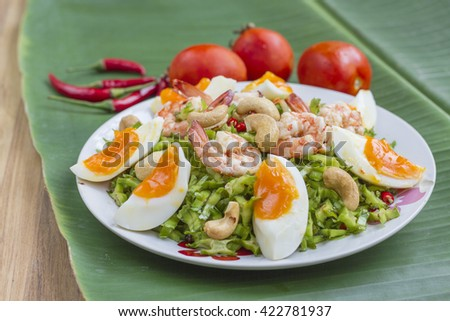 Spicy Shrimp and betel nuts. Thai food. - stock photo