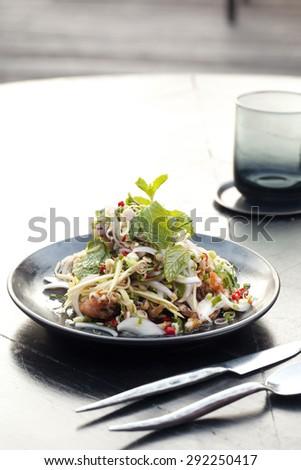Spicy Shrimp Salad - stock photo