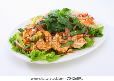 Spicy Shrimp Salad - stock photo