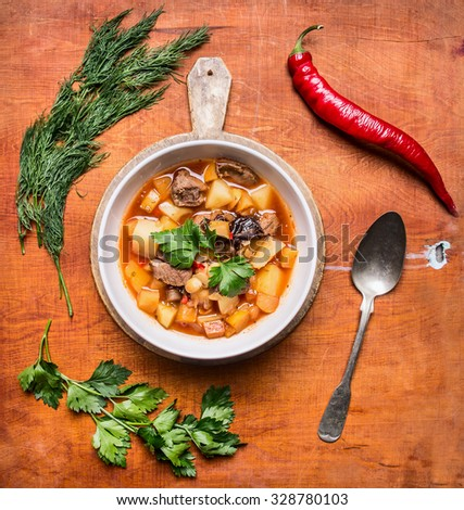 Spicy soup with lamb and vegetables, potatoes in white plates and spoon green spicy red pepper. - stock photo