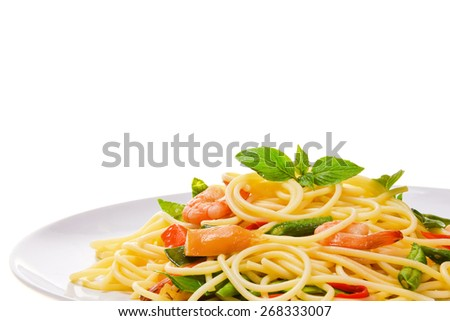 Spicy Spaghetti  with Shrimp and Basil - stock photo