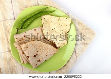 Spicy Vegetable and Roti, Indian Food with green chilli. Indian bread - stock photo