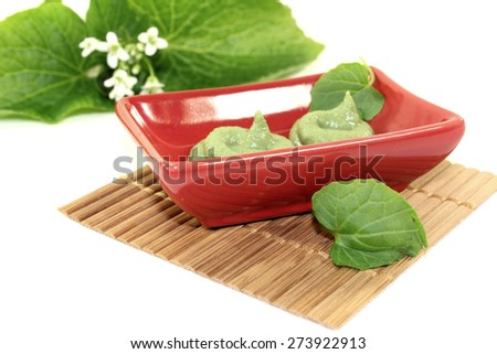 spicy Wasabi with leaf and flower in a red bowl - stock photo