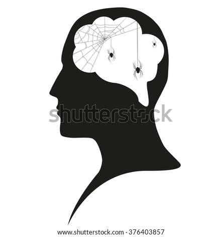Spiders in human head - stock photo
