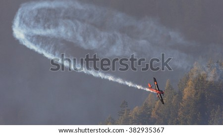 SPIELBERG, AUSTRIA - OCTOBER 25, 2014: Nicolas Ivanoff (France) competes in the Red Bull Air Race. - stock photo