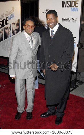 Spike Lee, Denzel Washington at THE INSIDE MAN Premiere, The Ziegfeld Theatre, New York, NY, March 20, 2006 - stock photo