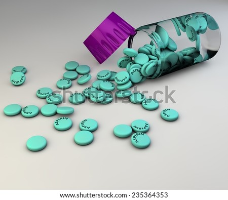 Spilled aspirin pills and bottle on gray background - stock photo