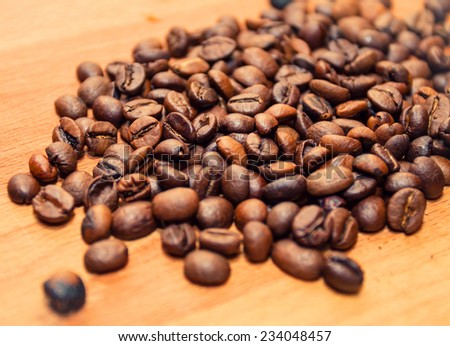 spilled coffee beans - stock photo