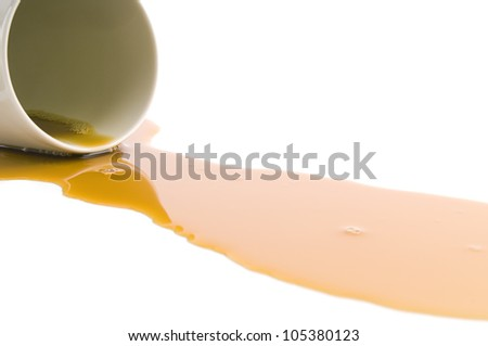 Spilled coffee isolated on white background - stock photo
