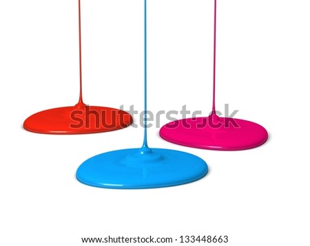 Spilled colorful paint. 3d illustration. - stock photo