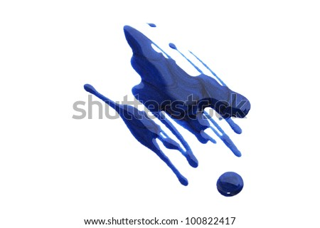 Spilled nail polish isolated on white background. - stock photo