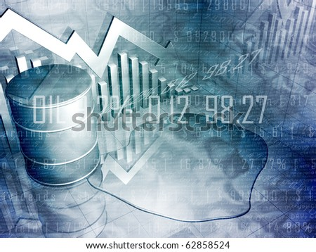 Spilled Oil Drum with Downward Pointing Stock Arrow - stock photo
