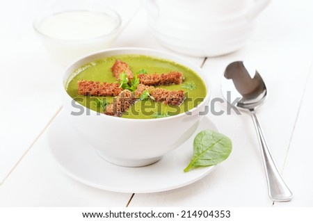 Spinach soup with dried crusts in white bowl - stock photo