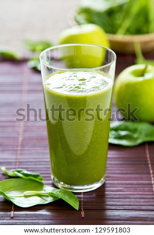 Spinach with Green apple and celery smoothie - stock photo