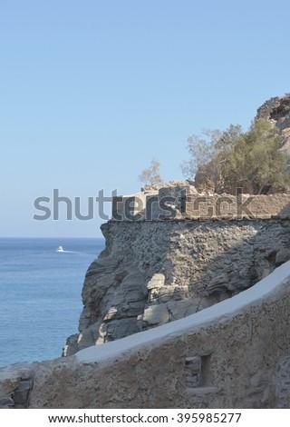 Spinalonga Fortress Details - stock photo