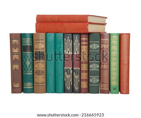 Spine of the books. Isolated on  white background. - stock photo
