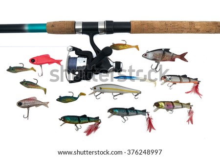 Spinning rod, reel and fishing baits isolated on white background, top view - stock photo