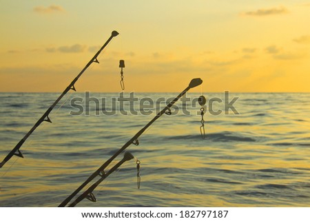 spinning rods in front of sea  - stock photo