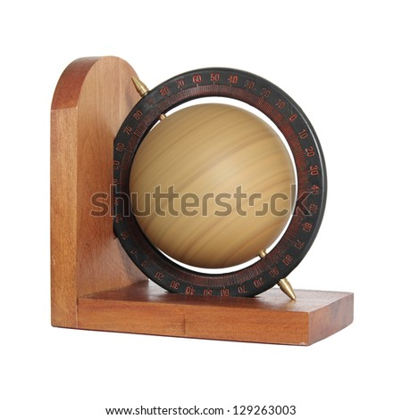 spinning vintage globe isolated on white with clipping path - stock photo