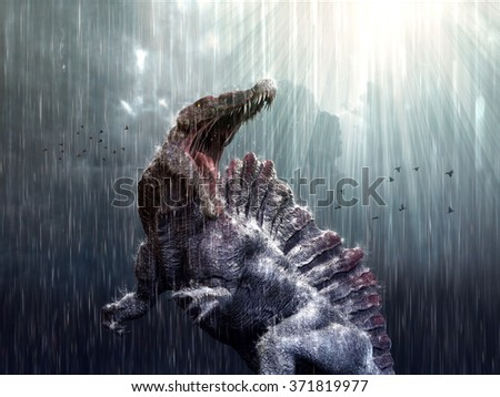 Spinosaurus feeling at home during a tropical storm. - stock photo