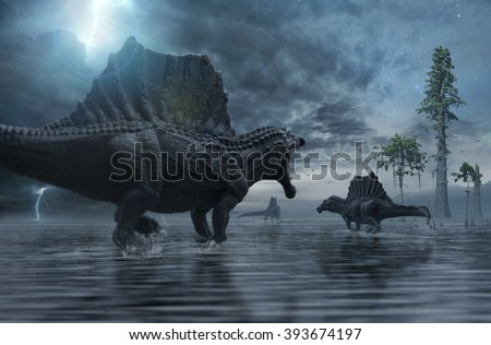 Spinosaurus group moving to a new hunting ground. - stock photo