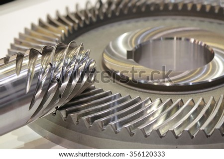 Spiral Bevel Gear Shaft in the industrial working - stock photo
