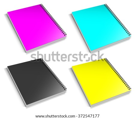 Spiral CMYK binder. Note pad with white - stock photo