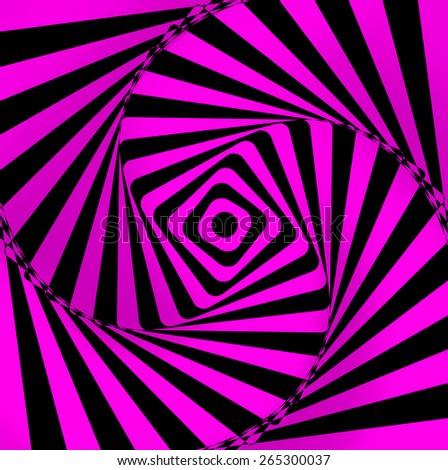 spiral fuchsia and black on optical background - stock photo
