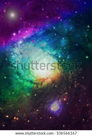 Spiral galaxy against black space, nebula and stars in deep outer space - stock photo