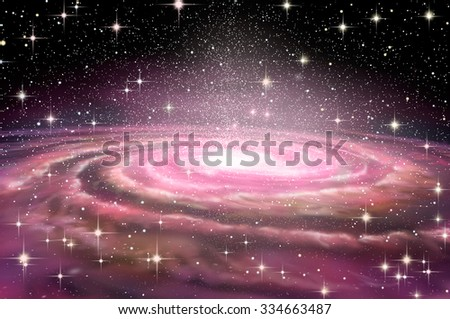 Spiral Galaxy in deep spcae, 3D illustration - stock photo