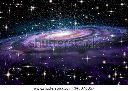 Spiral Galaxy in deep spcae, 3D illustration - stock photo