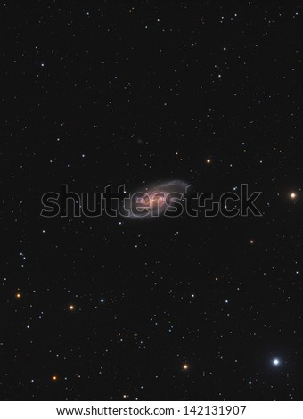 Spiral Galaxy NGC2903 - A spiral galaxy about 30 million light years away in the constellation Leo - stock photo