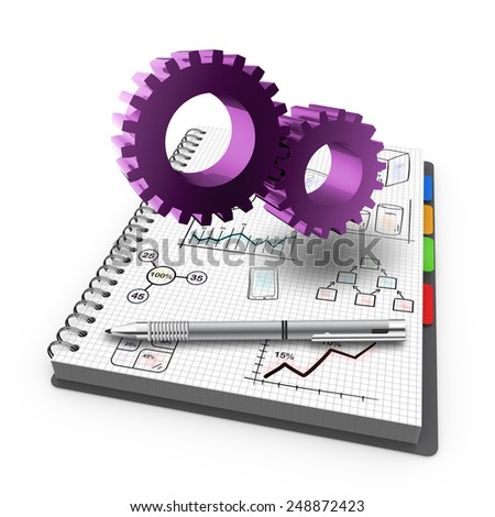 Spiral notebook with process develop business as concept - stock photo
