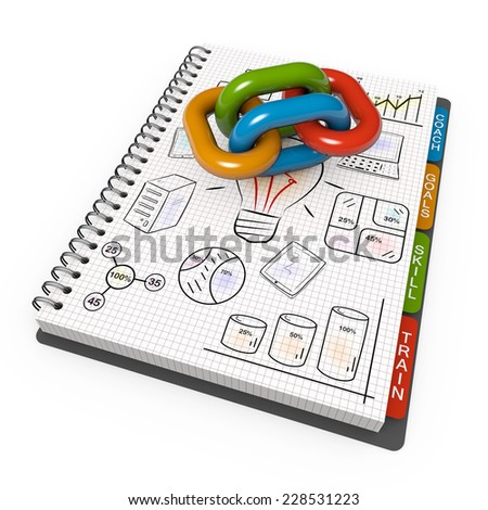Spiral notebook with the associated chain - stock photo