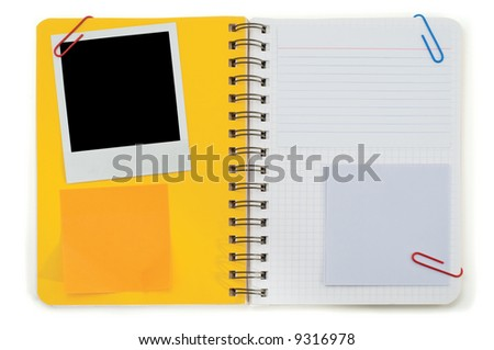 Spiral notepad and blank instant photo isolated on a white - stock photo