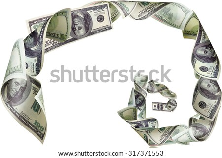 Spiral of dollars on white background - stock photo