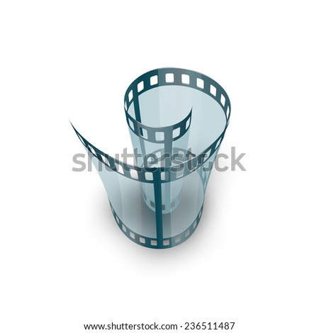 Spiral of film strip. Graphic concept for your design illustration - stock photo