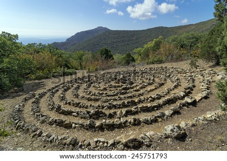 Spiral of the Holy Spirit.  Crimean mountains. Spiral built by the followers modern esoteric teachings - stock photo