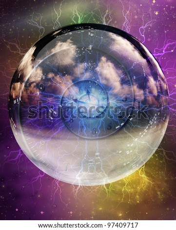 Spiral of time enclosed in crystal sphere - stock photo