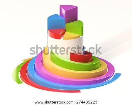 Spiral Pie Chart - stock photo