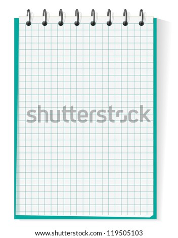 Spiral section notebook isolated on white, jpeg version - stock photo
