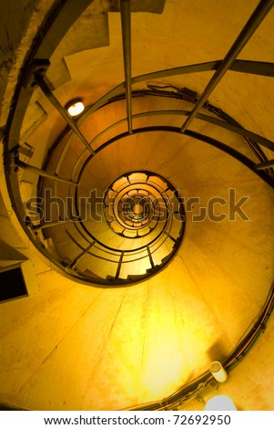 Spiral Stair inside the Triomphe arch in Paris - stock photo