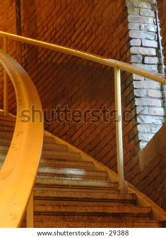 Spiral staircase at the Volunteer Park Water Tower in Seattle. - stock photo