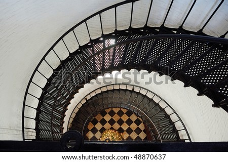 Spiral Staircase Inside Lighthouse - stock photo